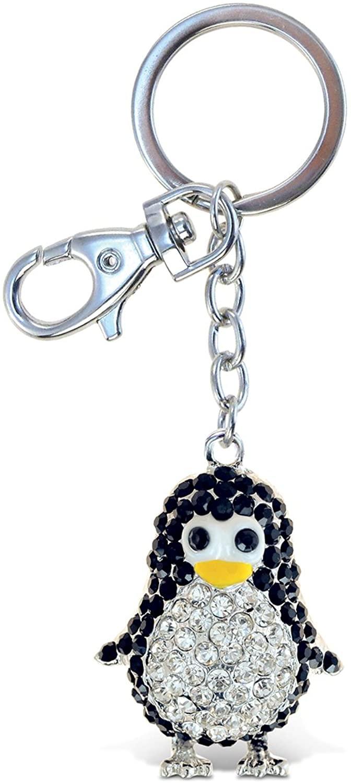 Aqua79 Cute Penguin Keychain - Silver 3D Sparkling Charm Rhinestones Fashionable Stylish Metal Alloy Durable Key Ring Bling Crystal Jewelry Accessory, Clasp For Keychain, Bag, Purse, Backpack, Handbag