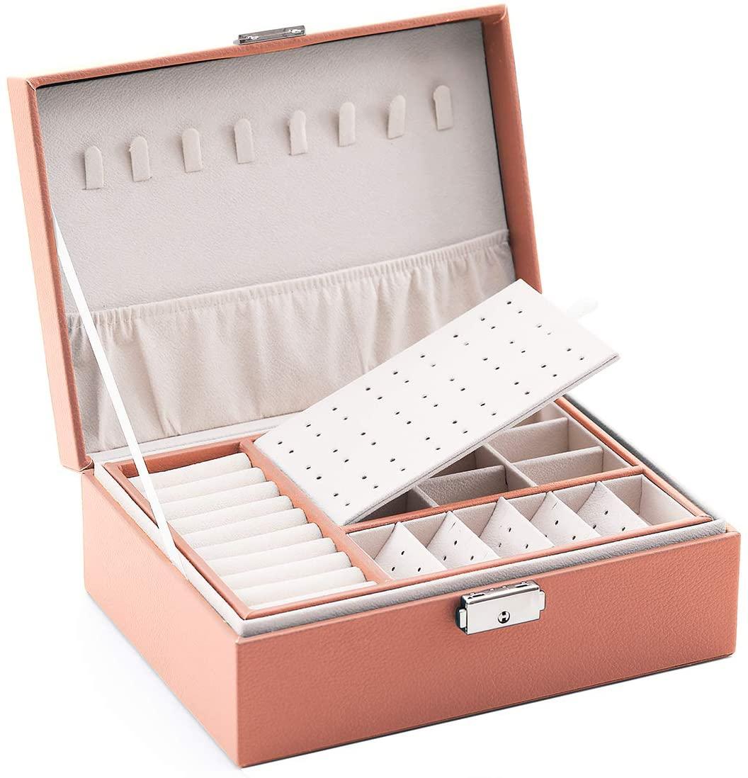 JACIEYU Large Two Layer Jewelry Organizer Box with 74 Stud Jacks Smooth Leather Jewelry Storage Case Display Holder with Lock (Pink)