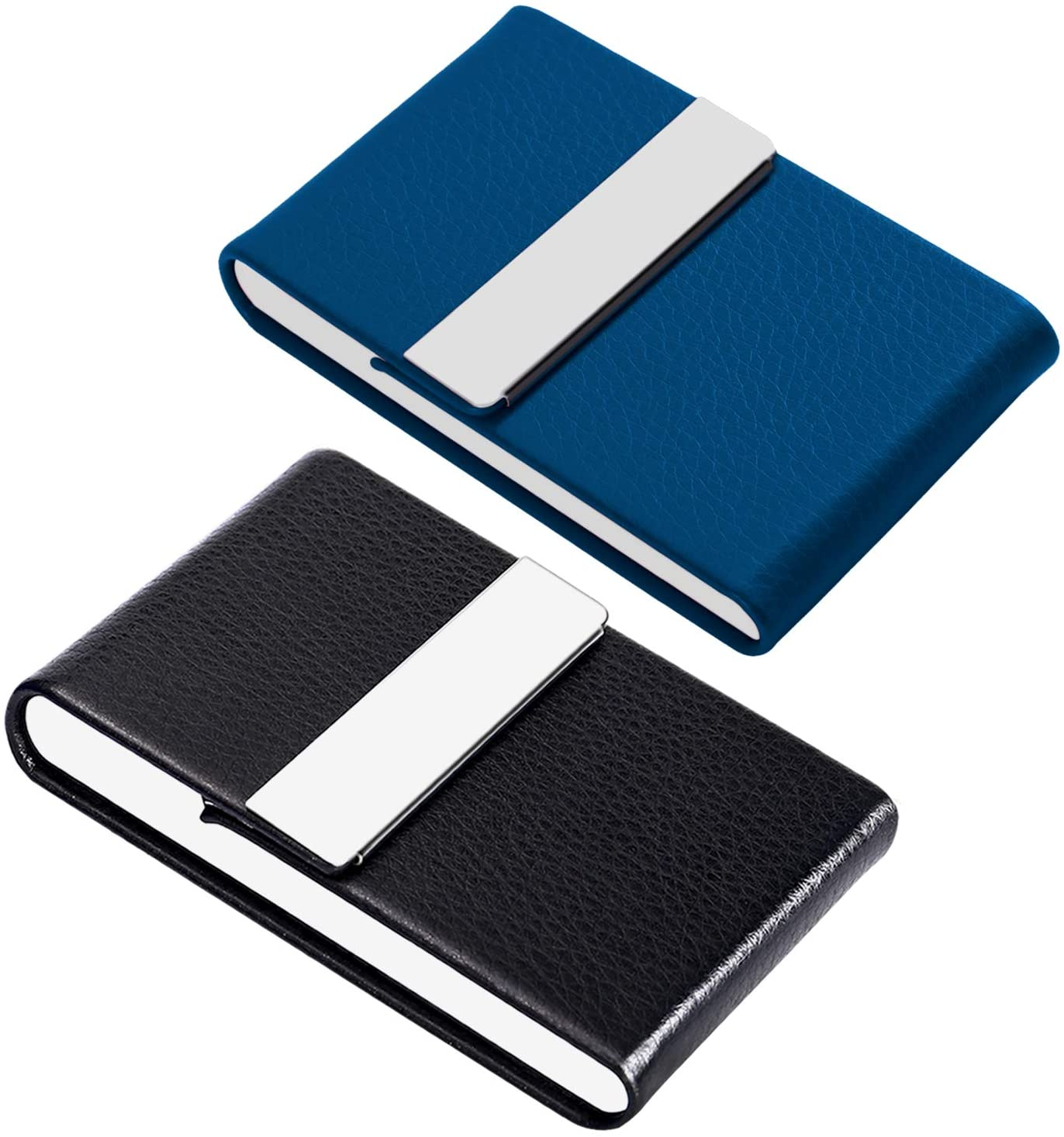 JuneLsy Business Card Holder - Professional PU Leather Business Card Case Metal Name Card Holder Pocket Business Card Carrier for Men & Women with Magnetic Shut, Pack of 2, (Black/Blue) Y