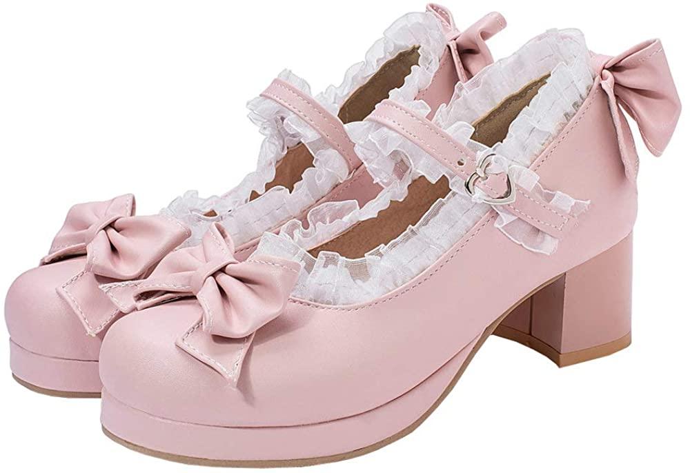 LUXMAX Women Kawaii Lolita Shoes Mid Block Heel Mary Jane Rockabilly Pumps with Bow