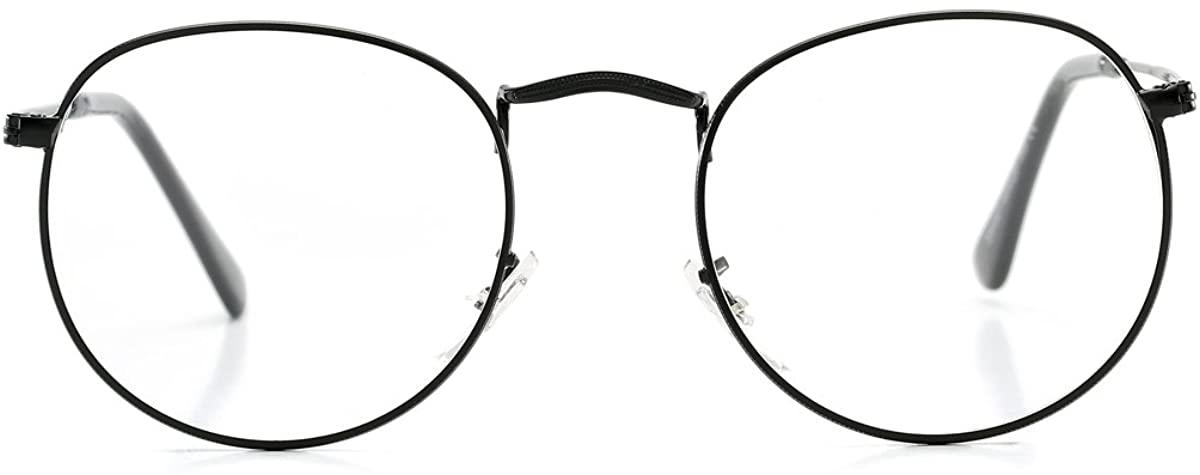 AZORB Round Clear Lens Glasses Circle Metal Frame Non-Prescription Eyeglasses for Men Women