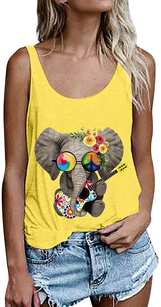 Liuxuelifg3 Summer Sunflower Graphic Tank Tops for Women Graphic Tank Tops Sleeveless Graphic Tee Shirts Letter Print Tank Top Yellow