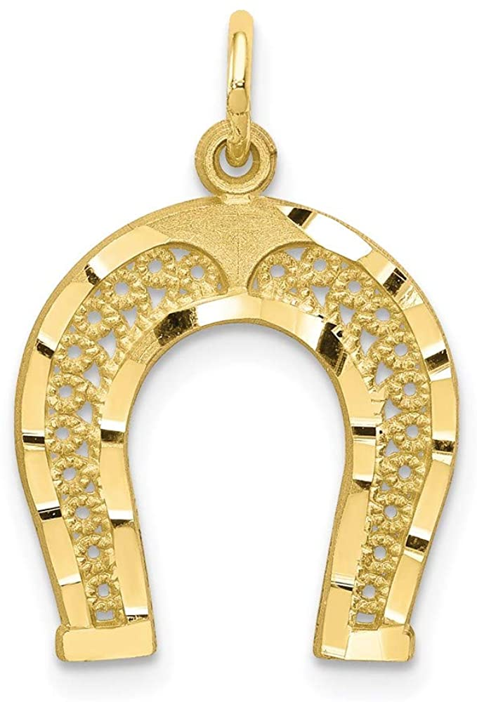 10k Yellow Gold Horseshoe Pendant Charm Necklace Good Luck Italian Horn Fine Jewelry For Women Gifts For Her