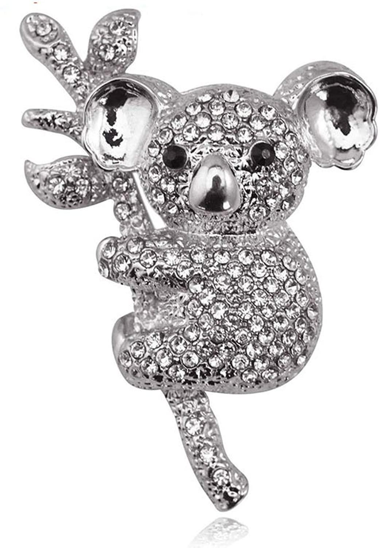 Full Rhinestone Cute Koalas Animal Brooches for Women Animal Corsage All-Match Summer Dress Jewelry Pins