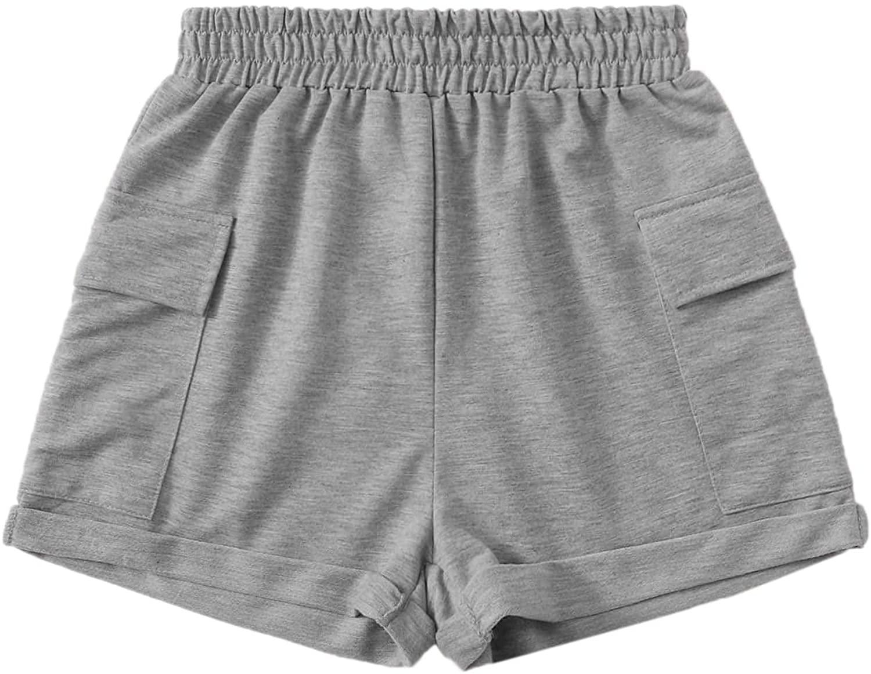 Milumia Women's Casual Flap Pocket Elastic Mid Waist Straight Leg Shorts