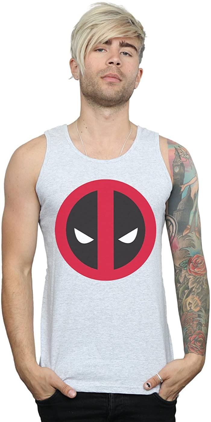 Marvel Men's Deadpool Large Clean Logo Tank Top Sport Grey X-Large