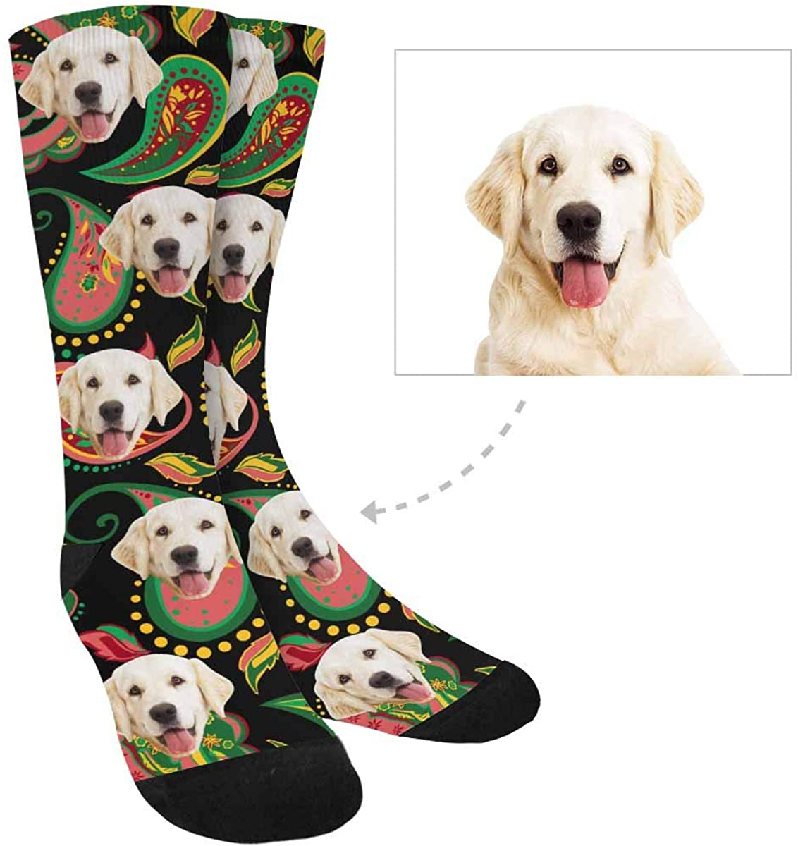 Custom Print Face Socks, Personalized Paisley Socks for Women Men