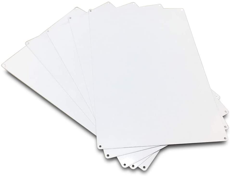 Ebamaz 200X300X0.65mm Aluminum Metal Signs Sublimation Blanks 7.87X11.81X0.026 Inch Big Nameplates (Pearl White, 5PCS)
