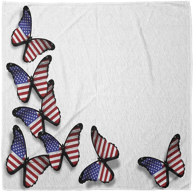 Lunarable Unisex Bandana, Americana Flag Flying Butterflies, Red White Blue