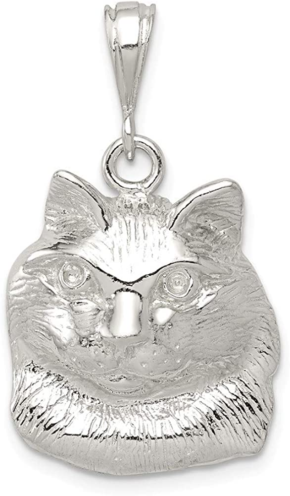 925 Sterling Silver Solid Polished Open back Cat Charm Pendant Necklace Jewelry Gifts for Women