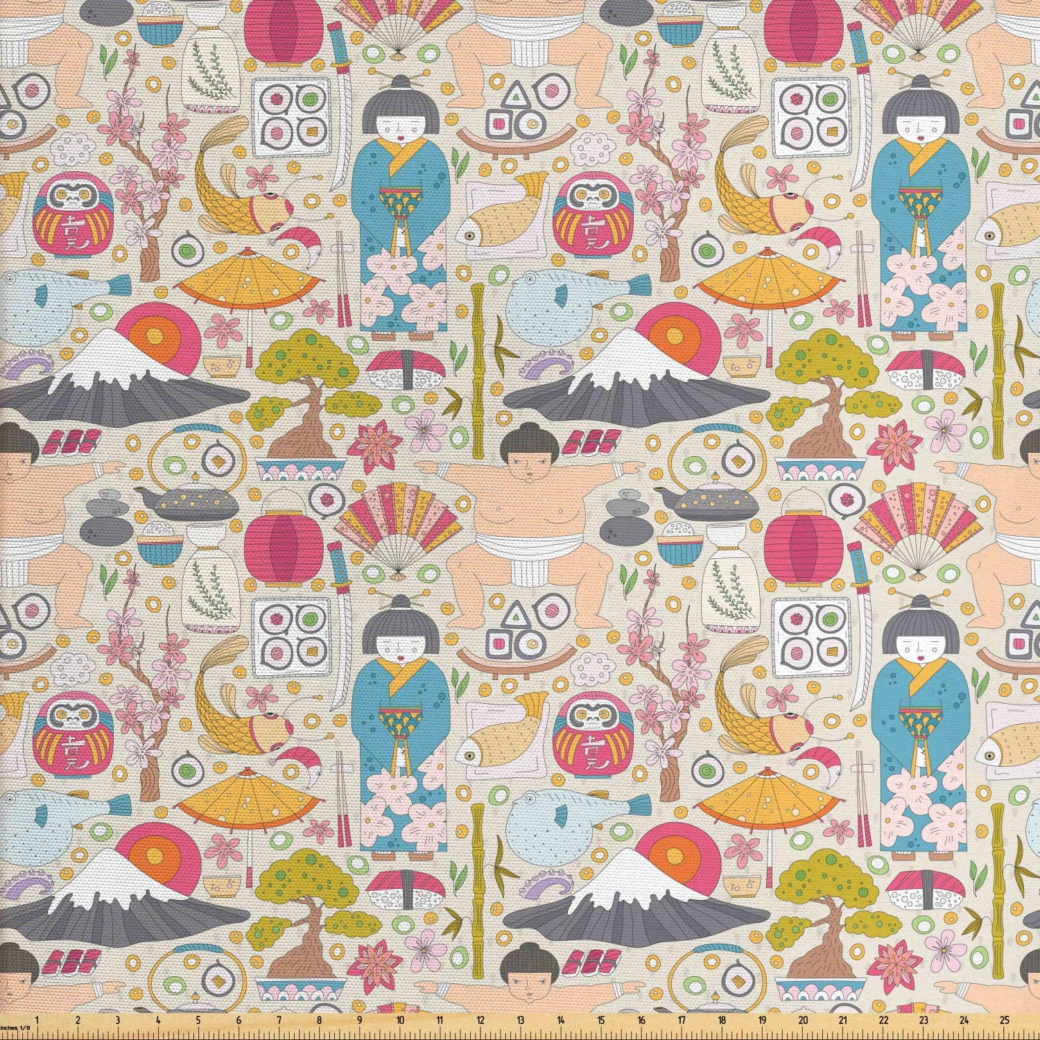 Lunarable Japanese Fabric by The Yard, Sushi Mount Hill Sumo Wrestler Land of The Rising Sun Motifs Travel Holiday, Decorative Fabric for Upholstery and Home Accents, 2 Yards, Peach Pink