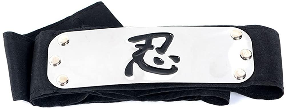 OIVA Black Naruto Logo Metal Plated Headband/Forehead Protector Cosplay Accessories for Naruto Fans (Shinobi)