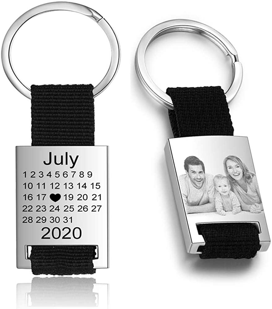 Personalized Calendar Photo Keychain Custom Engraved keyring for Men Women
