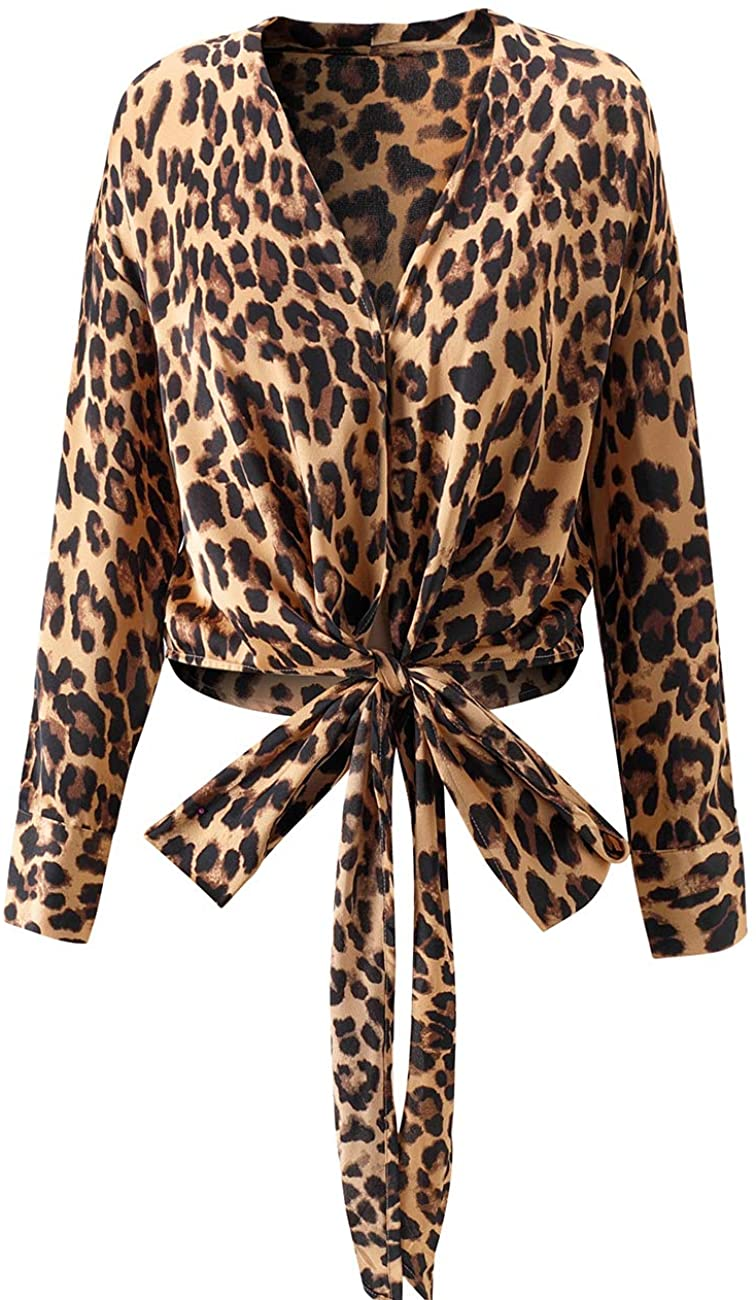 Women's Sexy Long Sleeve Leoparded Blouses with Belt
