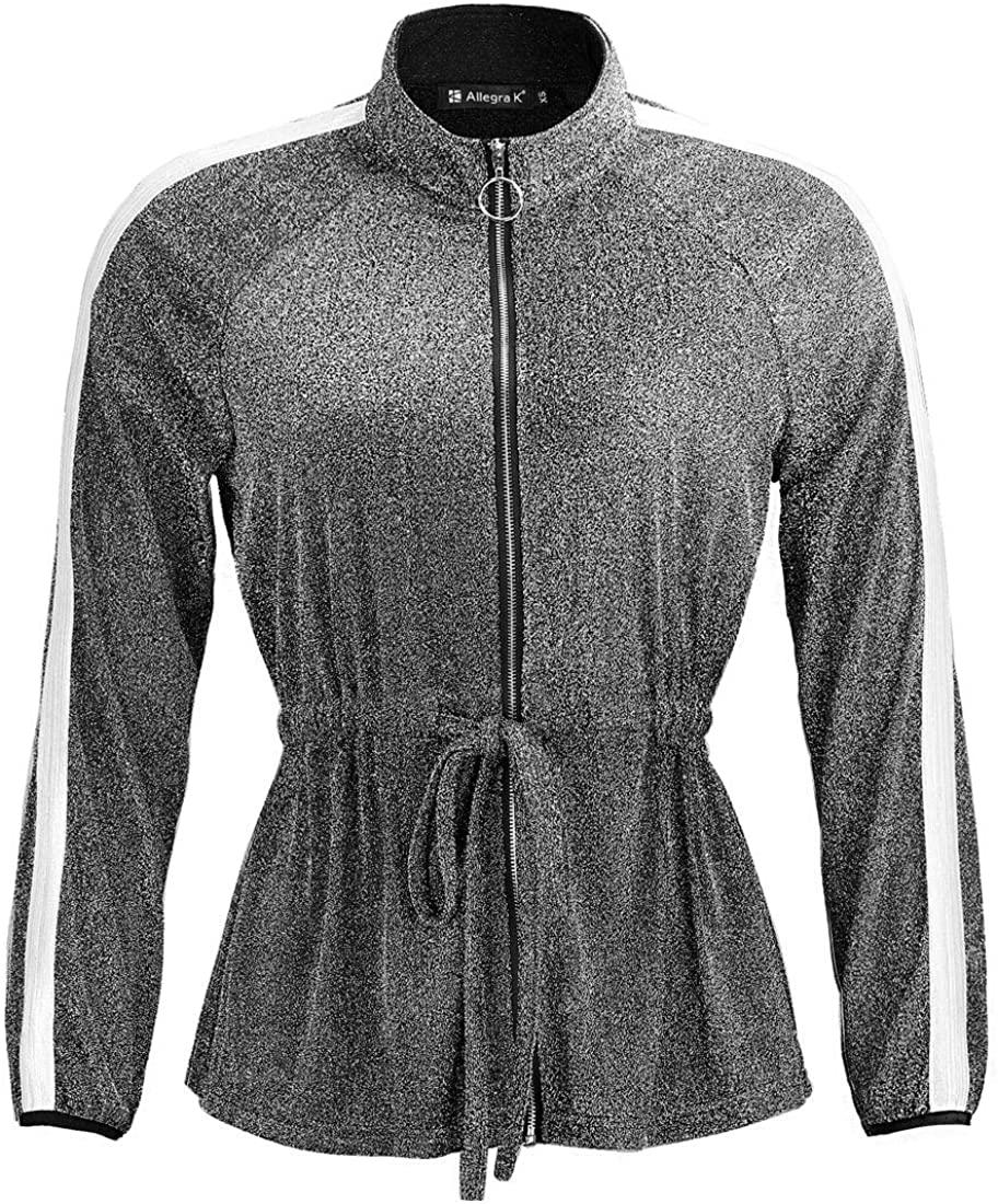 Allegra K Women's Fall Winter Zip Up Metallic Outwear Lightweight Glitter Jacket
