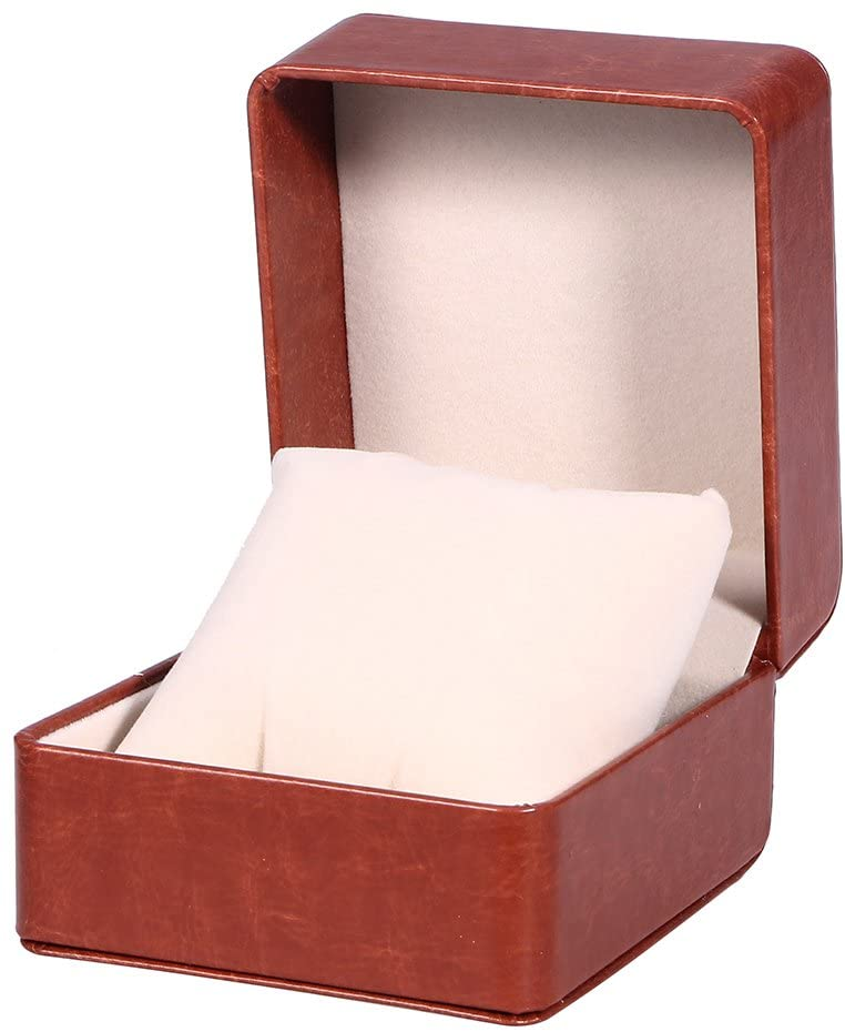 Watch Box Holder Organizer Premium PU Storage Box Jewelry Bracelet Storage Gift Case Single Grid (Coffee)