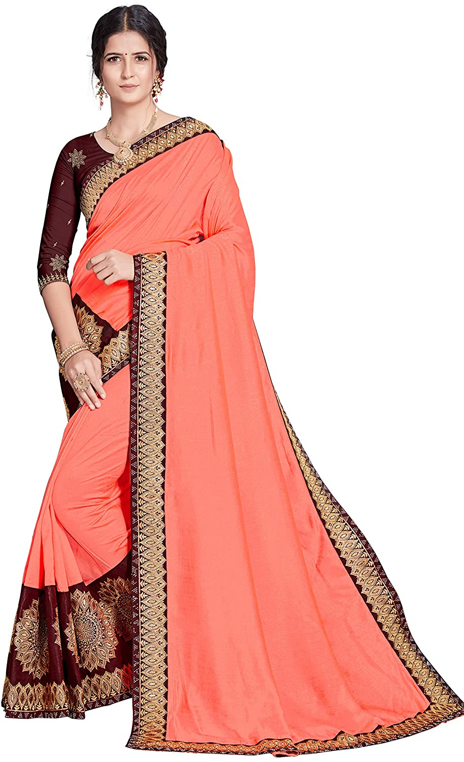Womens Wear Indian Traditional Wedding Wear Embroidery Saree with Unstich Blouse Piece