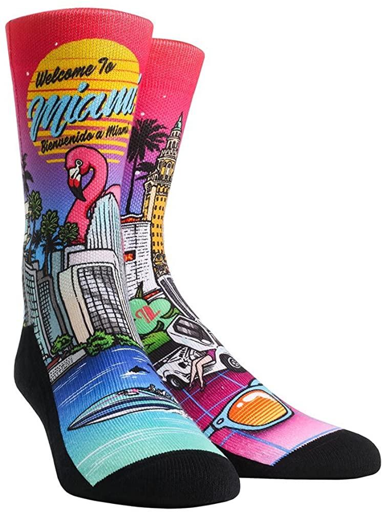 Rock 'Em Florida City Series Socks (S/M, Miami Landmark Collage)