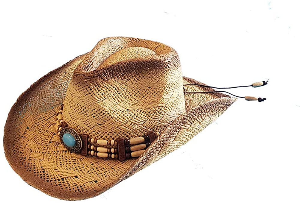 AS YOU WISH Men & Women's Straw Cowboy Cowgirl Hat Western Outback w/Wide Brim Straw Cowboy Hat