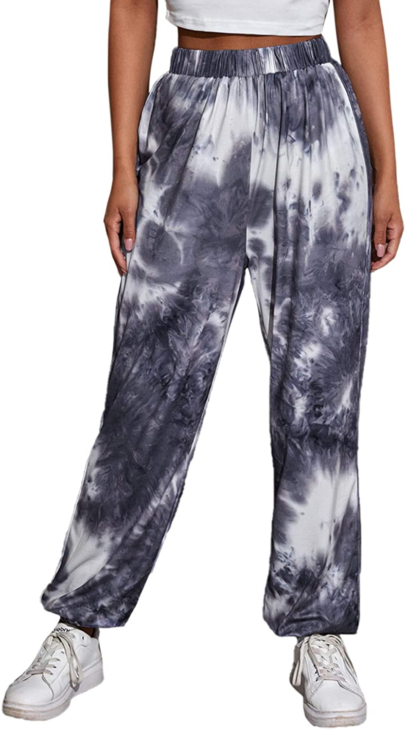 SweatyRocks Women's Juniors Soft Jogger Sweatpants Tie Dye Drawstring Pants with Pockets