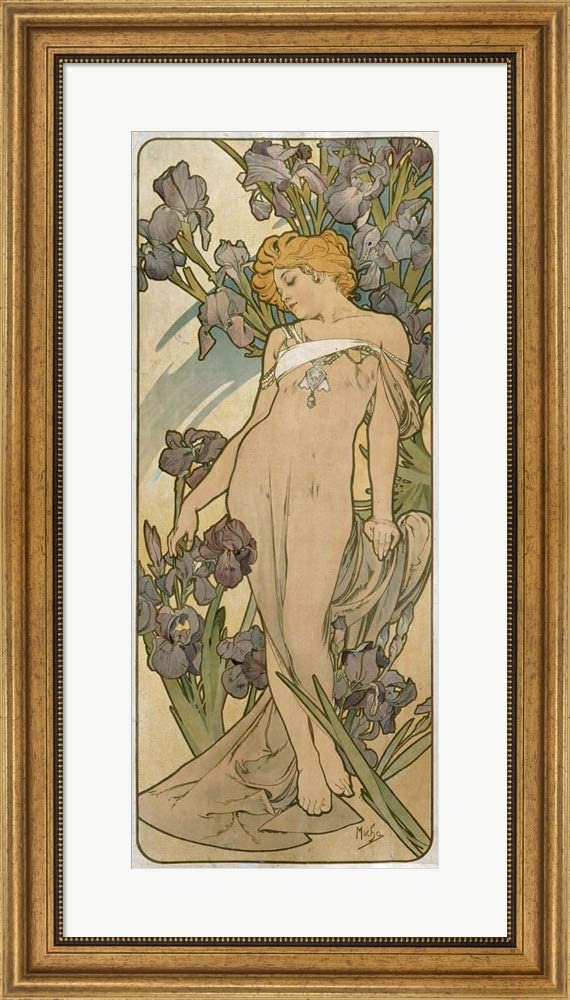 Irises, 1898 by Alphonse Mucha Framed Art Print Wall Picture, Wide Gold Frame, 18 x 32 inches