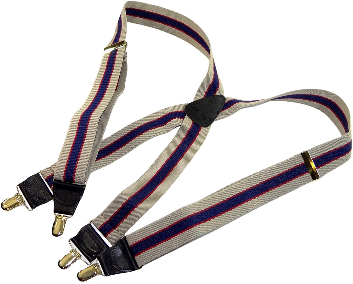 Holdup Brand Khaki Tan and Navy Striped Men's Suspenders with X-back Style and Gold Tone no-slip Patented clips