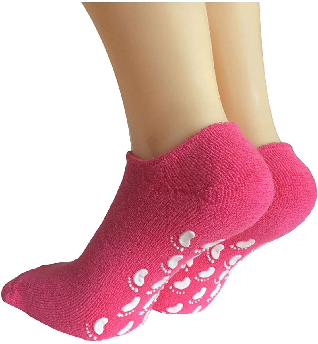 Lantee Non Slip Skid Proof Low Cut No Show Womens Ankle Hospital Socks w/Grips
