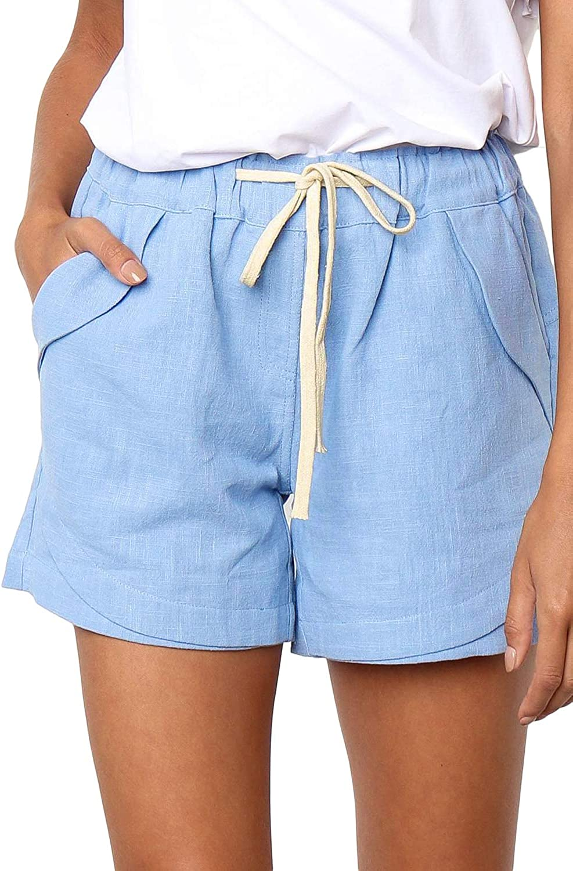 Adogirl Women's Drawstring Casual Shorts Summer Plain Color Elastic Waist Shorts with Pockets