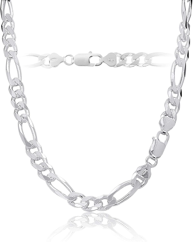 KEZEF Mens Sterling Silver 925 Italian Figaro Link Chain Necklace or Bracelet 7.5mm