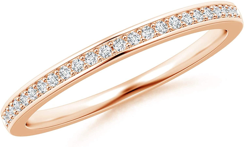 Pave Set Half Eternity Womens Diamond Wedding Band (1mm Diamond)