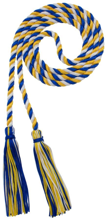 Honor Cord - ROYAL/GOLD/WHITE - Every School Color Available - Made in USA - By Tassel Depot