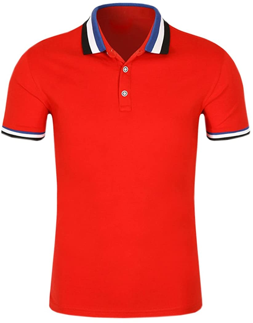 SanVera17 Men Casual Classic Solid Color Polo Shirts Cotton Short Sleeve T-Shirt Red US M