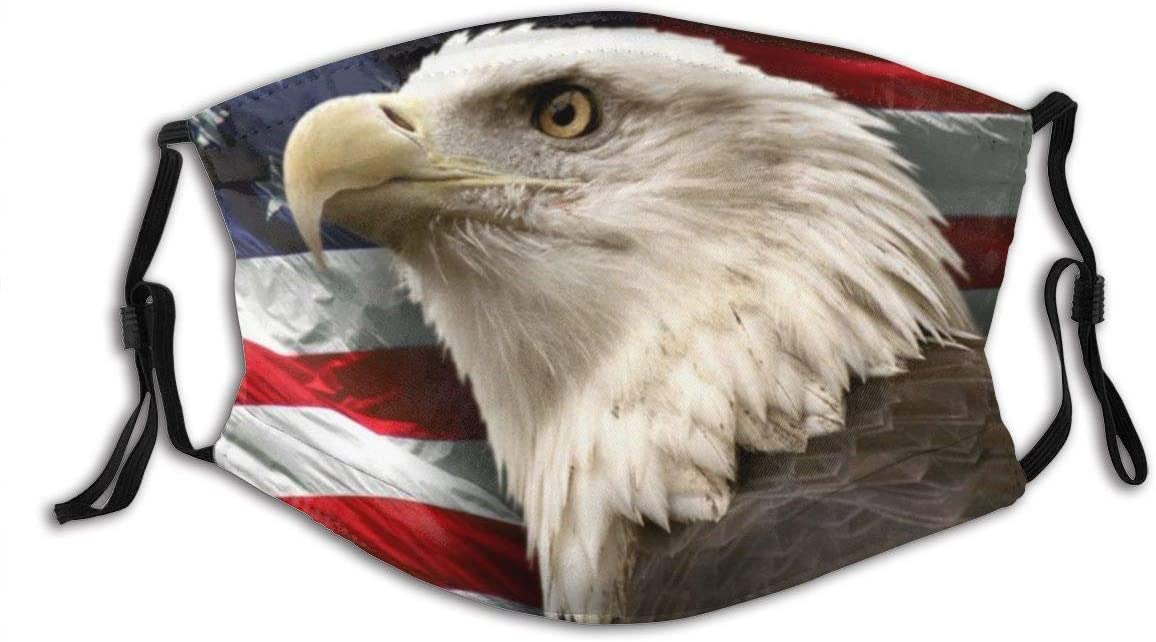 Usa American Flag Bald Eagle Face Mask With Filter Pocket Washable Reusable Face Bandanas Balaclava With 2 Pcs Filters