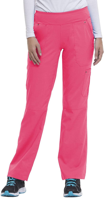 healing hands 9133 Women's Tori Yoga Waistband Scrub Pant Shocking Pink/Black MT