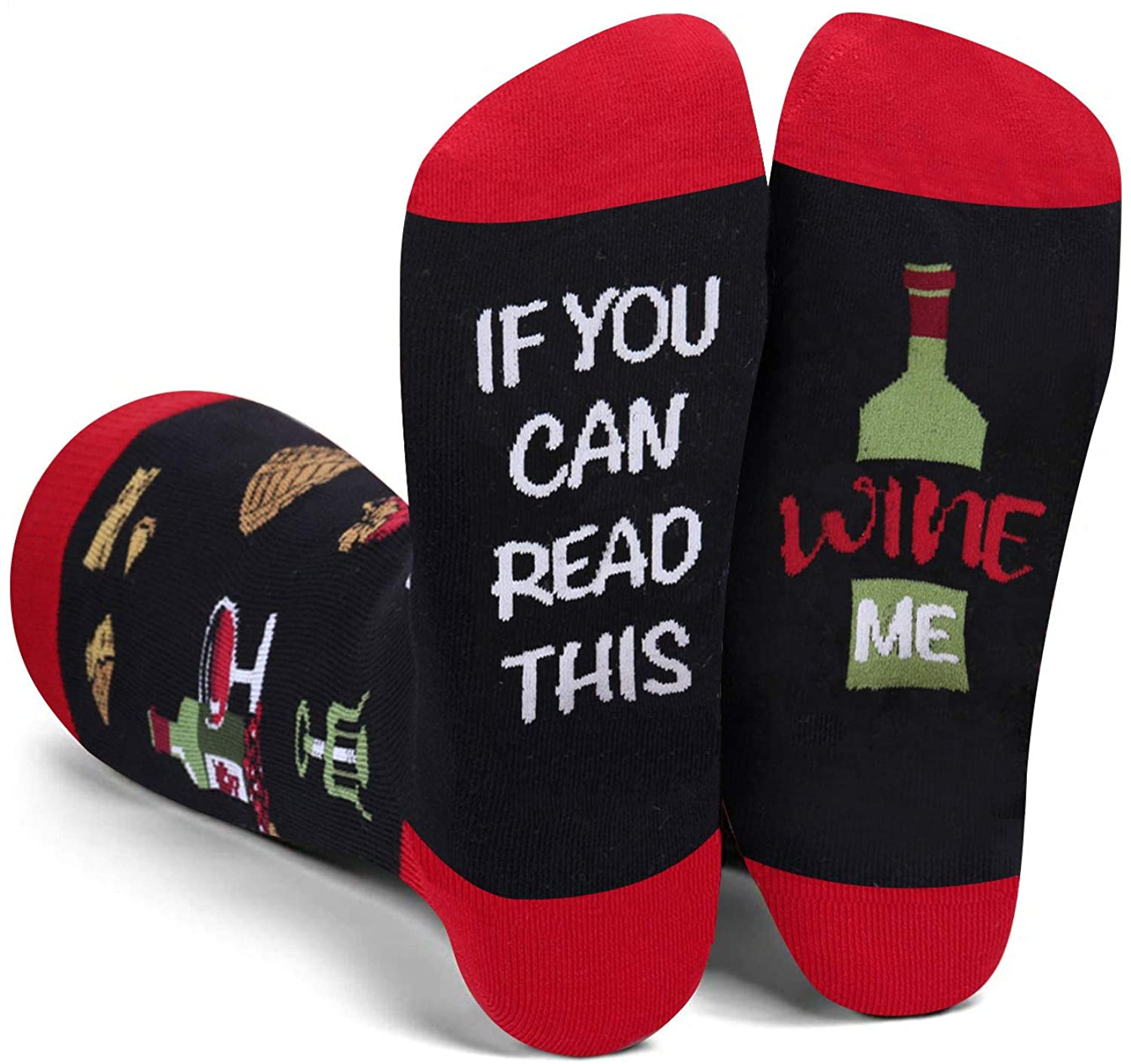 Zmart Women's Funny Saying If You Can Read This Socks Bring Me Taco Donuts Beer Wine Coffee Tea Gifts Socks