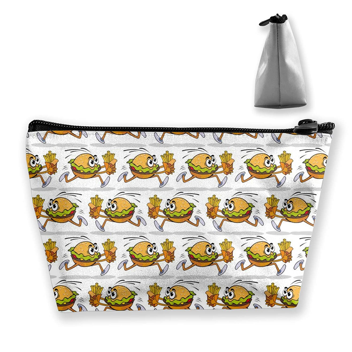 Women Funny Running Burger With French Fries Toiletry Bag Holder Multifunction Travel Makeup For Cosmetics Digital Accessories Trip