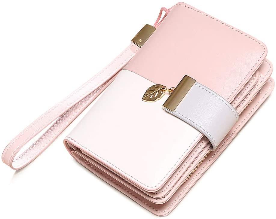 Womens Short Wallet Small Lady Purse Bifold RFID Blocking Leather Zipper Wallet Vintage Card Holder Elegant Clutch Wallet