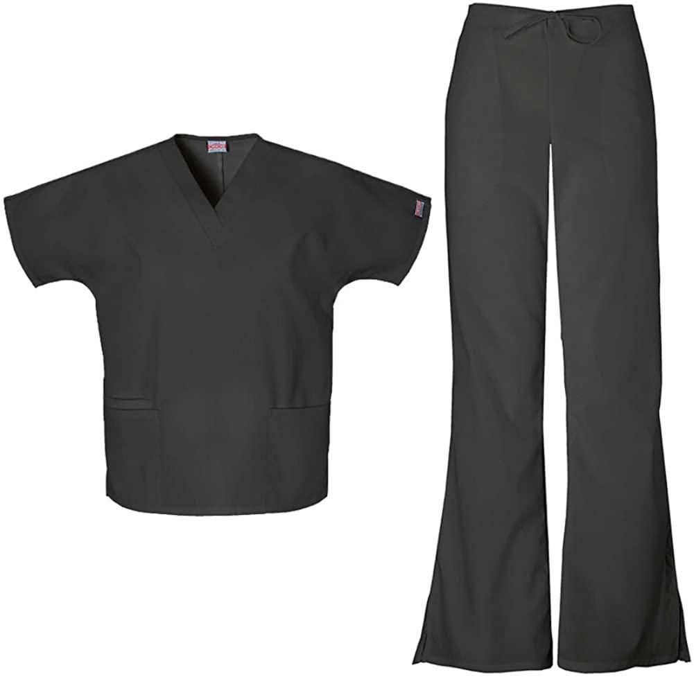 CHEROKEE Workwear Women's 4700 Top & 4101 Pant Medical Uniform Scrub Set (Black, X-Large)