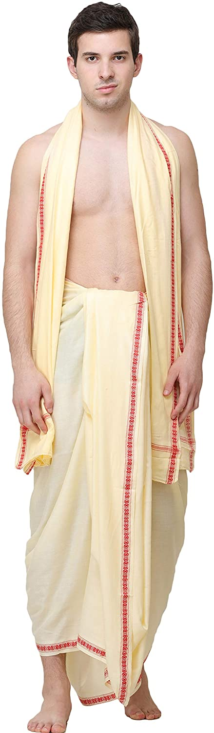 Exotic India Afterglow Dhoti and Angavastram Set from Kashi with WOV - Off-White