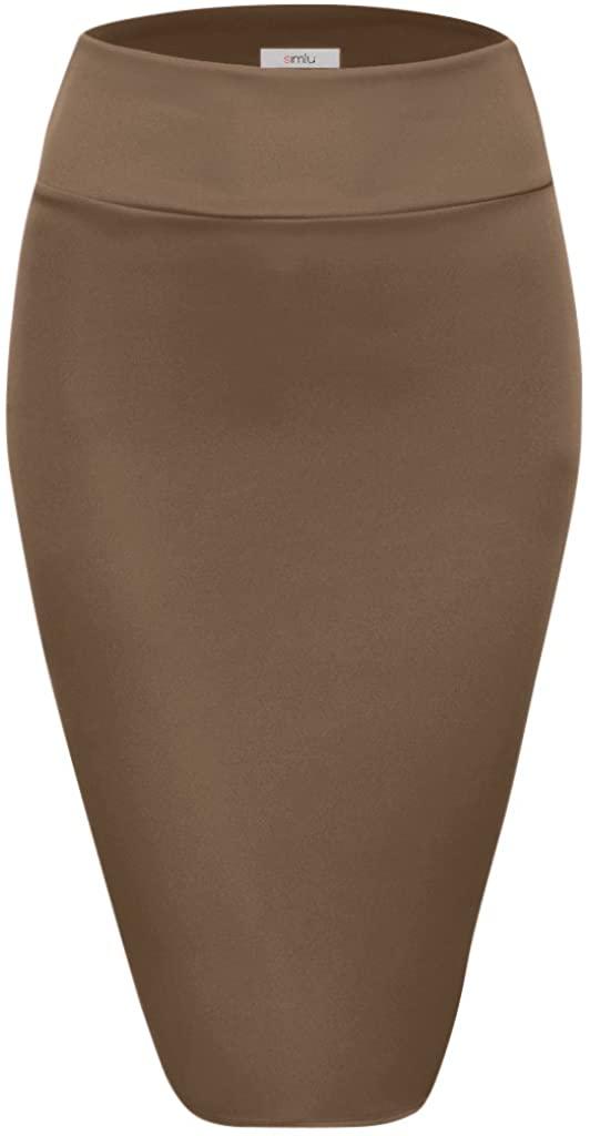 Scuba Pencil Skirt Midi Bodycon Skirt Below Knee Skirt, Office Skirt High Waist