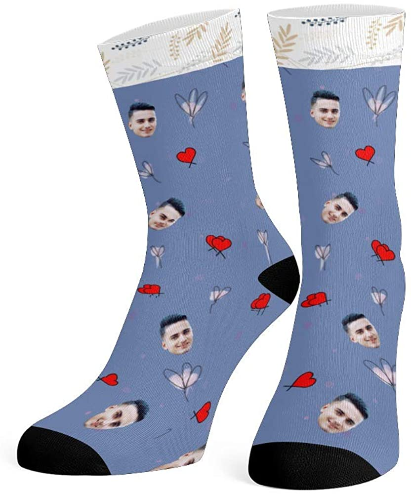 Custom Face Socks with Photo Personalized Print Man Face Crew Socks for Men Women