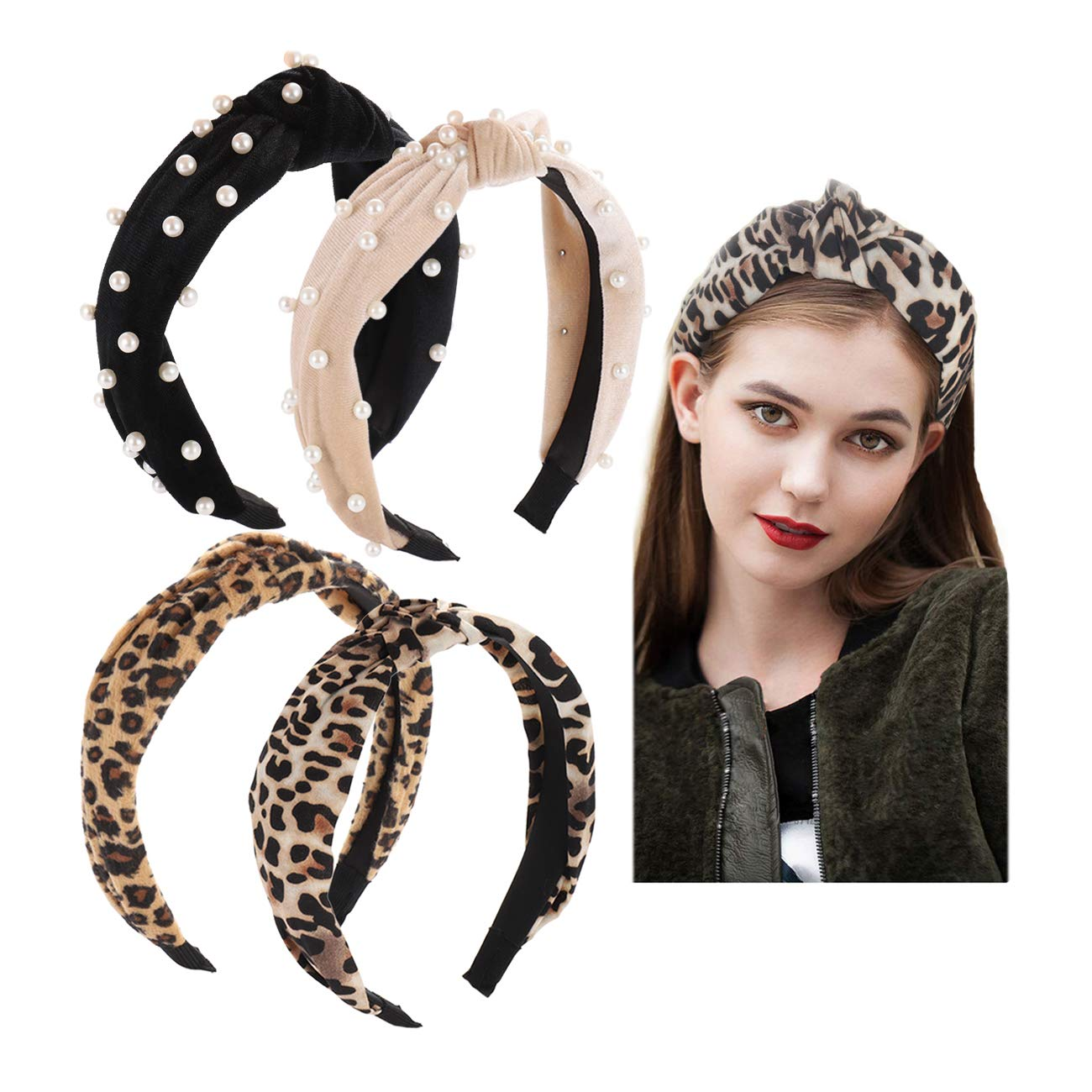 Wide Knotted Turban Headbands Vinatge Velvet Faux Pearl Hairband Animal Print Knotted Headbands Elastic Fashion Hair Hoops for women girls (A Set)