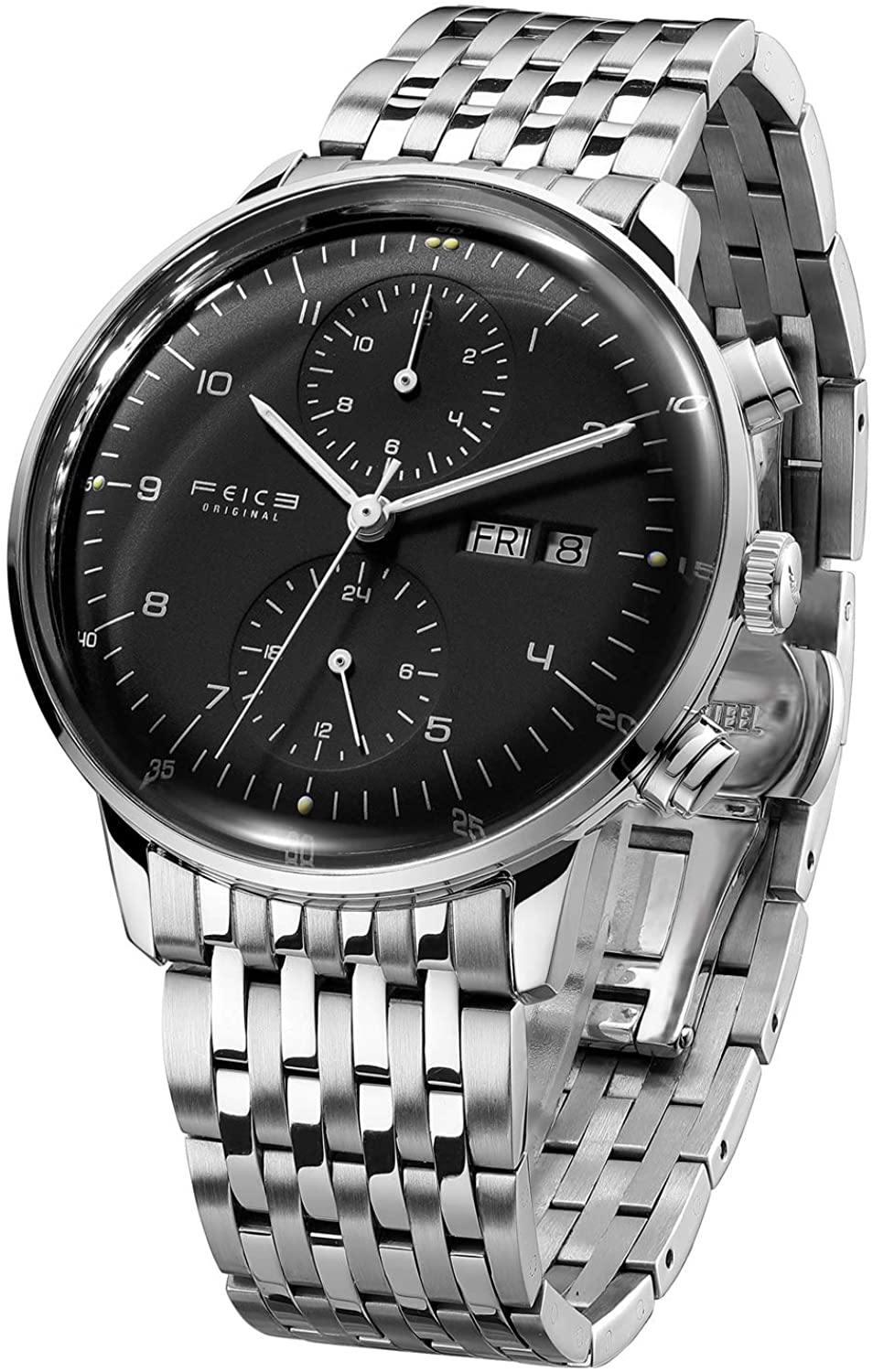 FEICE Men's Watches Bauhaus Automatic Watch Stainless Steel Mechanical Watch Wristwatch Casual Dress Watches for Men with Leather Bands Date -FM121