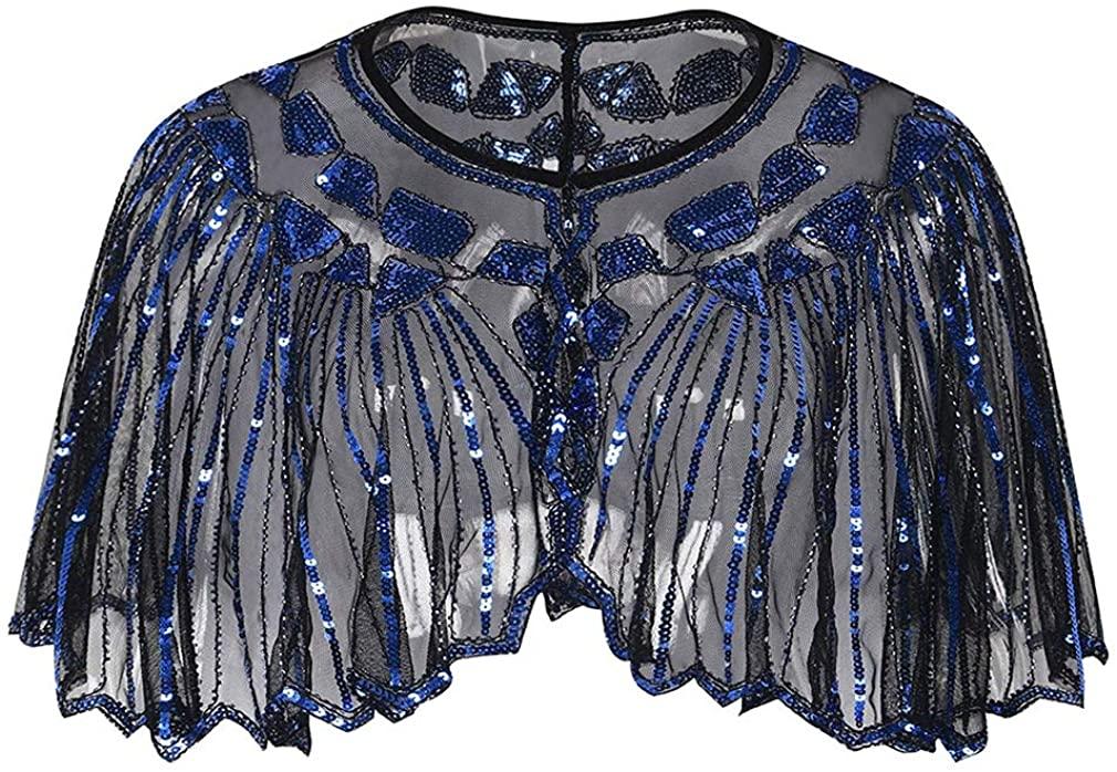 Aprsfn Women's Vintage 1920s Mesh Sequins Beaded Evening Cape Bolero Wraps Shawl