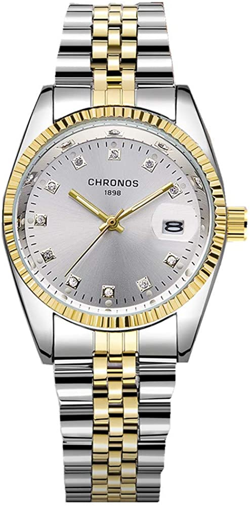 Chronos Luxury Stainless Steel Crystal Diamond Watches for Couple Waterproo Aanalog Lovers Wristwatches
