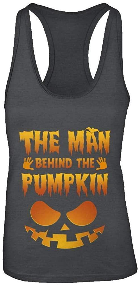 TeesPass Women's The Man Behind The Pumpkin Funny Pregnant Halloween Shirt Racerback Tank Top