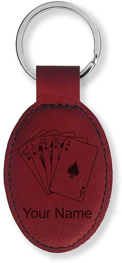 Faux Leather Oval Keychain, Royal Flush Poker Cards, Personalized Engraving Included