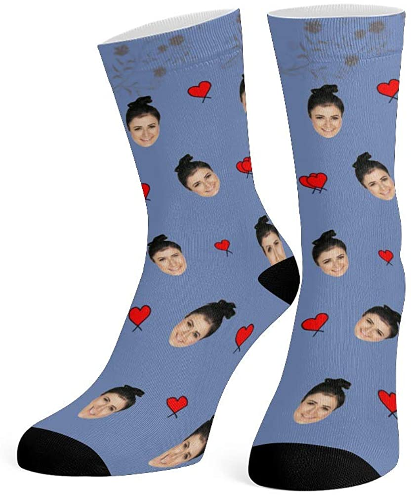 Custom Face Socks with Photo Personalized Print Lover Face Crew Socks for Men Women