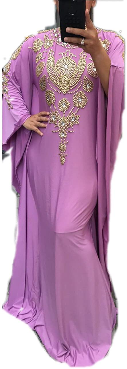 Glambition Kaftan Couture -Ivanna - Fitted Batwing 1 - Hand-Beaded Kaftan, Dress, Abaya (XX-Large, Lavender), Dubai, Morrocan, African, Style