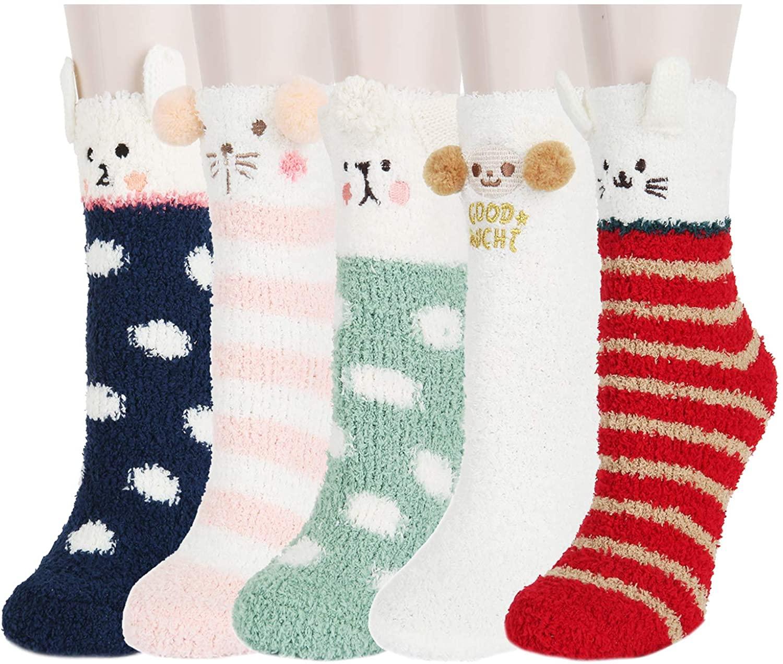 Zmart Women Girls Fuzzy Warm Soft Fluffy Slipper Socks, Chirstmas